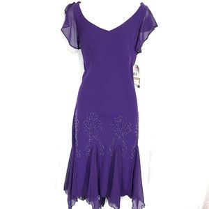 SL FASHIONS Lined Purple Cocktail Dress ~NWT~sz 12